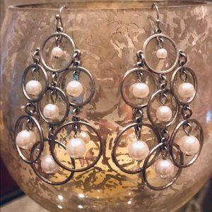 Chandelier Pearl & Silver Earrings
